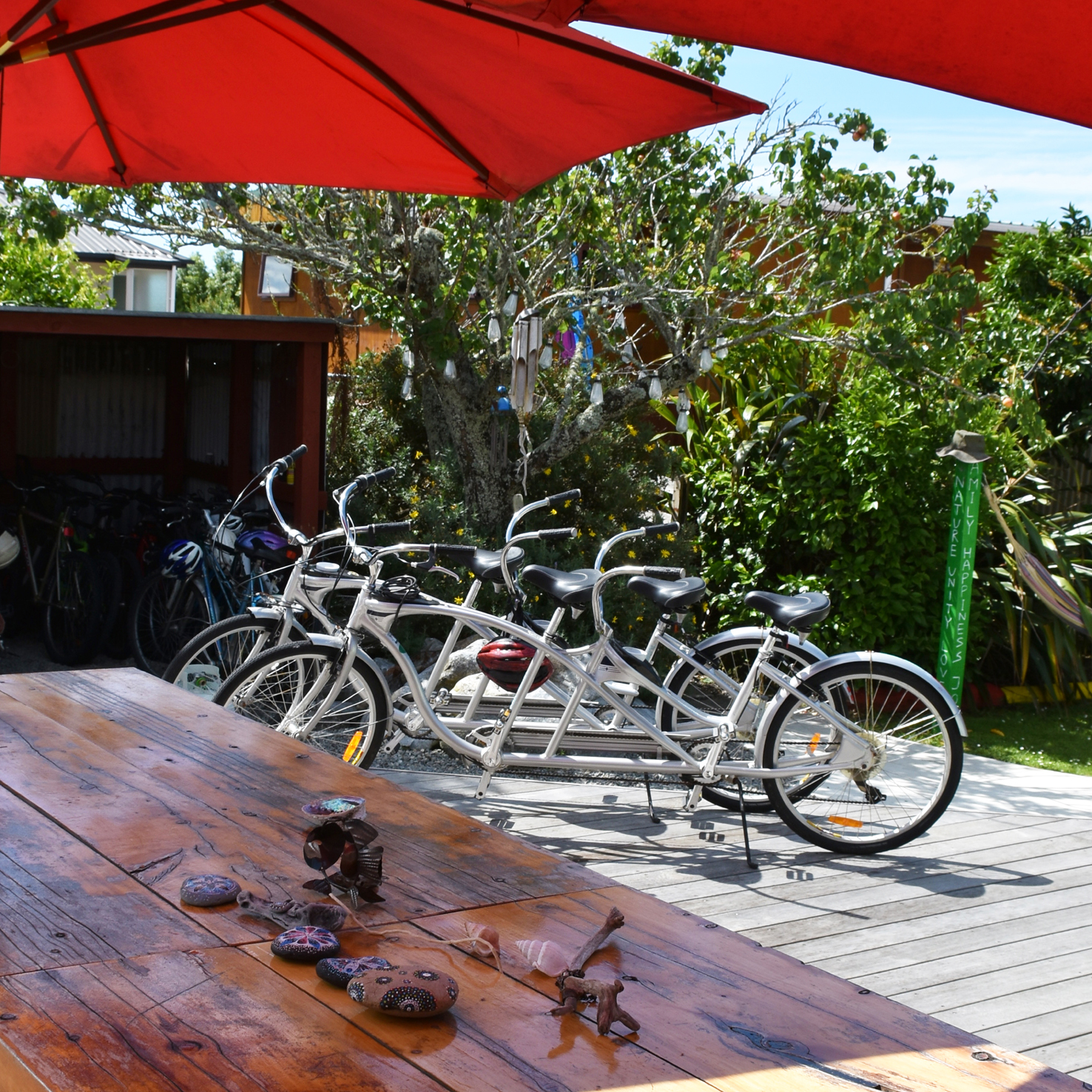 Free tandem and mountain bikes for guests