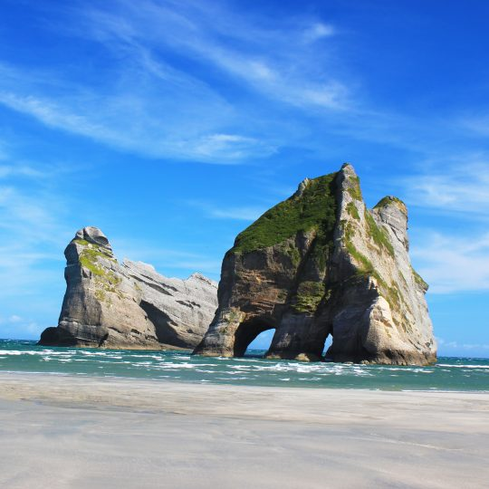 Archway Islands at Wharariki Beach in northern Golden Bay, New Zealand